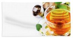 Herbal Green Tea With Jasmine Flower In Transparent Teacup Borde Bath Towel