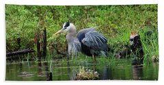 Heron In Beaver Pond Bath Towel
