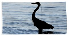 Heron In Silhouette Bath Towel