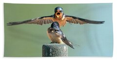Hey, Babe, Let's Rock N Roll.  Barn Swallows Hand Towel