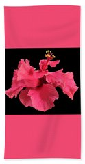 Hibiscus Pink In Black Hand Towel