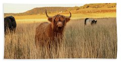 Highland Cows On The Farm Bath Towel