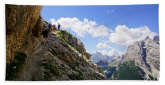 Hikers On Steep Trail Up Monte Piana Hand Towel