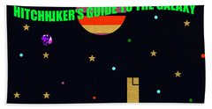 Hitchhikers Guide To The Galaxy Minimal Book Cover Art Hand Towel
