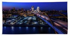 Hand Towel featuring the photograph Hoan Bridge At Dusk by Randy Scherkenbach