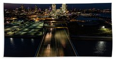 Hand Towel featuring the photograph Hoan Bridge Streaks by Randy Scherkenbach