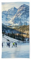 Hockey On Maroon Lake Maroon Bells Aspen Colorado Hand Towel