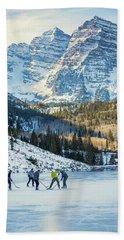 Bath Towel featuring the photograph Hockey On Maroon Lake Maroon Bells Aspen Colorado by Nathan Bush