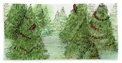 Holiday Trees Woodland Landscape Illustration Bath Towel