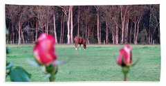 Horse And Roses Hand Towel