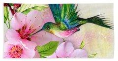 Hummingbird On Pink Blossom Bath Towel