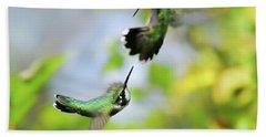 Hummingbirds Ensuing Battle Bath Towel