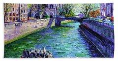 I Love Paris In The Springtime - Notre Dame De Paris And La Seine Hand Towel
