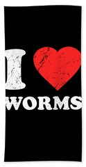 I Love Worms Bath Towel