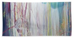Ice Tiger - A Large Oil On Canvas By Gill Bustamante Of A Tiger By A Waterfall Hand Towel