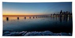 Icy Chicago Skyline At Dawn  Bath Towel
