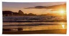 Idyllic Sunrise In Copacabana Beach In Rio De Janeiro, Brazil Hand Towel