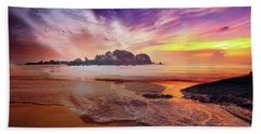 Incoming Tide At Sunset Bath Towel