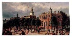 Independence Hall In Philadelphia, 1863 Hand Towel
