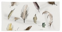 Inner Nature Feathers And Leaves Hand Towel