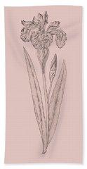 Iris Blush Pink Flower Bath Towel