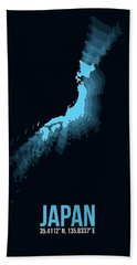 Japan Radiant Map 3 Hand Towel