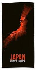 Japan Radiant Map I Hand Towel