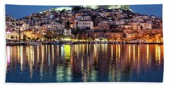 Kavala Town At Night Bath Towel