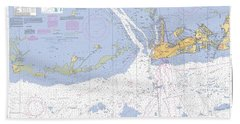 Key West Harbor And Approaches, Noaa Chart 11441 Bath Towel