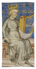 King David From The Bible Historiale Bath Towel