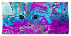 Kitty Collage Blue Hand Towel