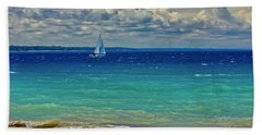 Lake Huron Sailboat Hand Towel