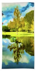 Lake Reflection - Faux Painted Hand Towel