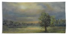 Landscape Of A Meadow With Sun And Trees Hand Towel