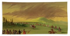 Lasalle Meets On The Prairie Of Texas, A War Party Of Cenis Indians, April 25th, 1686. Hand Towel