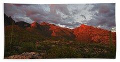 Last Light On Catalina Mountains Bath Towel