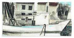 Le Barche Galleggianti Nel Mare Adriatico  Hand Towel