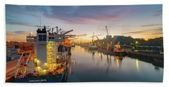 Bath Towel featuring the photograph Leixoes Harbour by Bruno Rosa