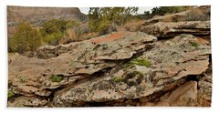 Lichen Covered Ledge In Colorado National Monument Hand Towel