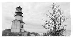 Lighthouse And Tree Lean In Bw Bath Towel