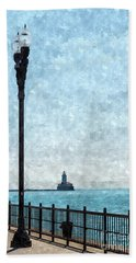 Lighthouse From Navy Pier Painterly Bath Towel