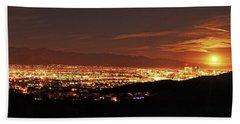 Lights Of Tucson And Moonrise Bath Towel