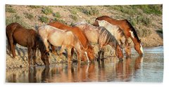 Lineup At The Pond-- Wild Horses Hand Towel