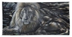 Lion In Dappled Shade Bath Towel
