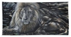 Lion In Dappled Shade Bath Towel