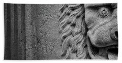 Lion Statue Portrait Bath Towel