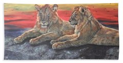 Lion Sunset Hand Towel