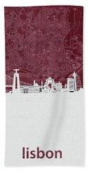 Lisbon Skyline Map Red Hand Towel
