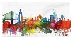 Lisbon Skyline Watercolor 2 Hand Towel