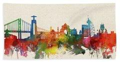 Lisbon Skyline Watercolor Hand Towel